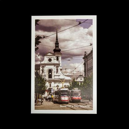 Obrázek Pohlednice tramvají Škoda 13T a ČKD Tatra KT8